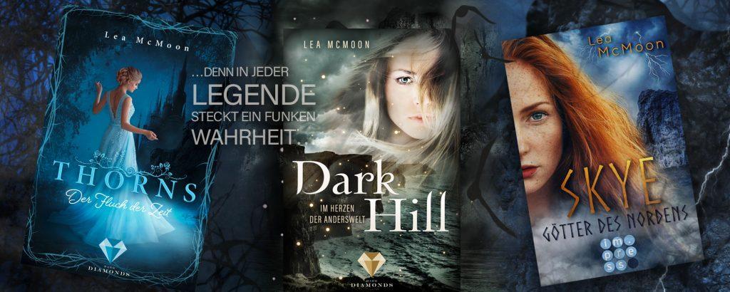 Banner für Thorns. Der Fluch der Zeit, Skye. Götter des Nordens, Dark Hill. Im Herzen der Anderswelt - Fantasy Romance Romane